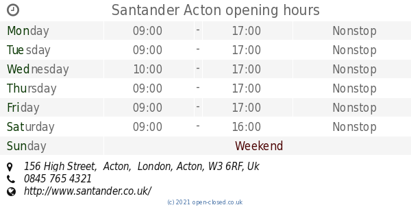 santander bank acton ma hours
