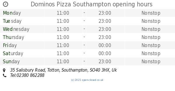Dominos Pizza Southampton Opening Times 35 Salisbury Road