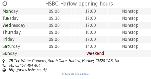 HSBC Harlow opening times, 7B The Water Gardens, South Gate