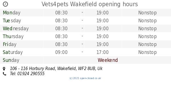 Vets4pets Wakefield Opening Times 106 116 Horbury Road