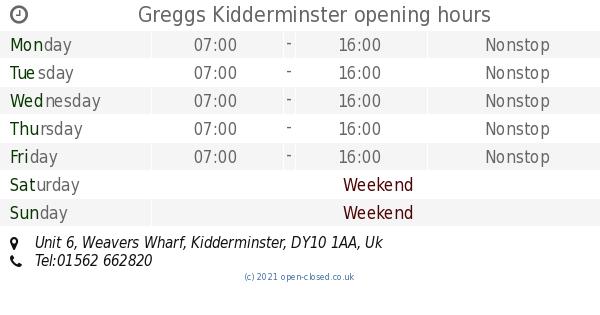 Greggs Kidderminster Opening Times Unit 6 Weavers Wharf