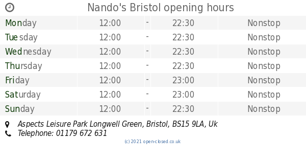 Nandos Bristol Opening Times Aspects Leisure Park Longwell