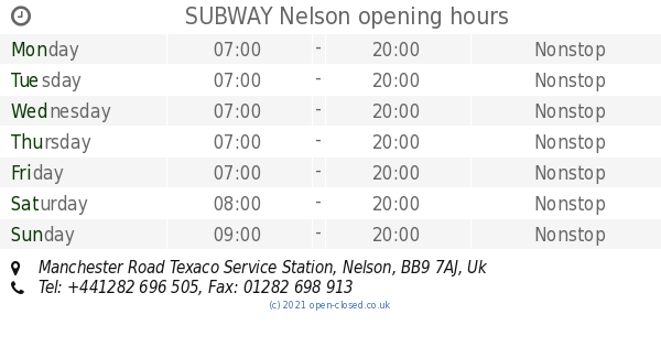 SUBWAY Nelson opening times, Manchester Road Texaco Service