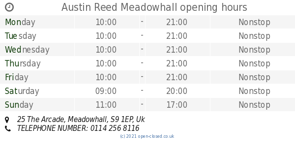 Austin Reed Meadowhall Opening Times 25 The Arcade
