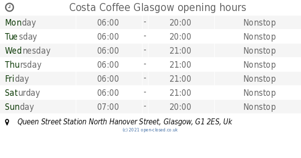 Costa Coffee Glasgow Opening Times Queen Street Station