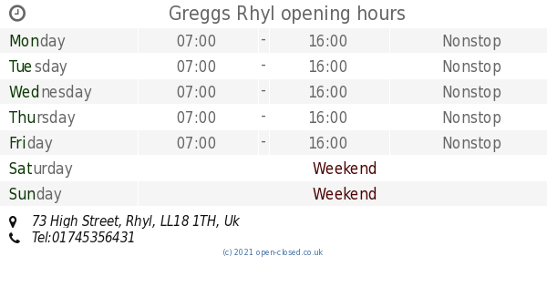 Greggs Rhyl Opening Times 73 High Street