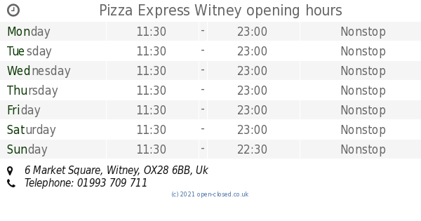 Pizza Express Witney Opening Times 6 Market Square