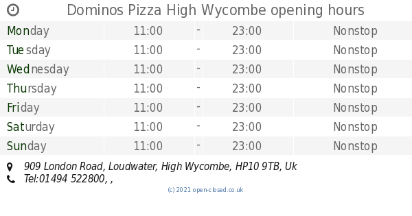 Dominos Pizza High Wycombe Opening Times 909 London Road