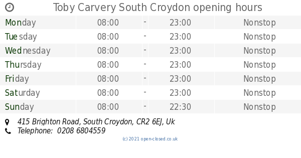 Toby Carvery South Croydon Opening Times 415 Brighton Road