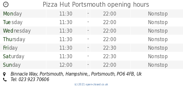 Pizza Hut Portsmouth Opening Times Binnacle Way Portsmouth