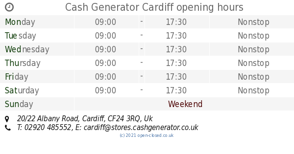 Cash Generator Cardiff opening times, 20/22 Albany Road