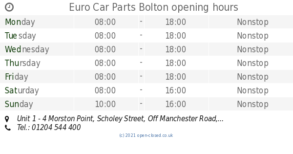 Euro Car Parts Bolton Opening Times Unit 1 4 Morston Point