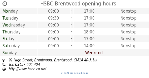 HSBC Brentwood opening times, 91 High Street, Brentwood