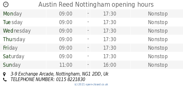 Austin Reed Nottingham Opening Times 3 9 Exchange Arcade