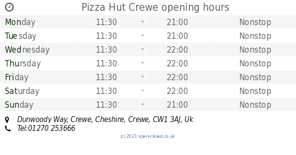 Pizza Hut Crewe Opening Times Dunwoody Way Crewe Cheshire