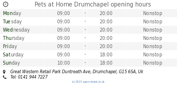 Pets At Home Drumchapel Opening Times Great Western Retail Park Duntreath Ave