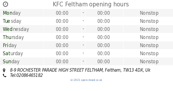 Kfc Feltham Opening Times 8 9 Rochester Parade High Street