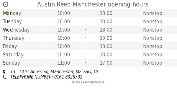Austin Reed Manchester Opening Times 13 14 St Annes Sq