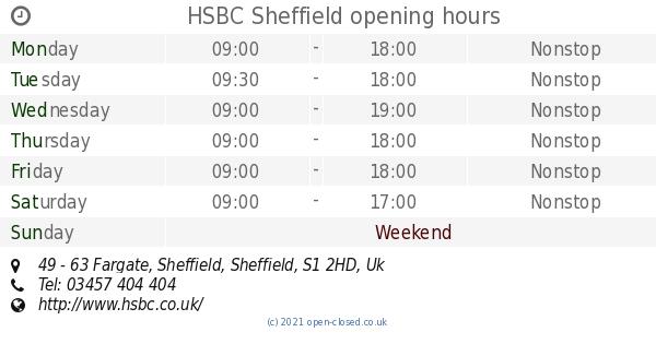 HSBC Sheffield opening times, 49 - 63 Fargate, Sheffield