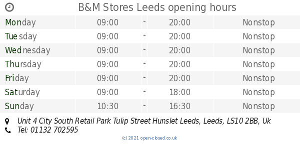 B&M Stores Leeds opening times, Unit 4 City South Retail