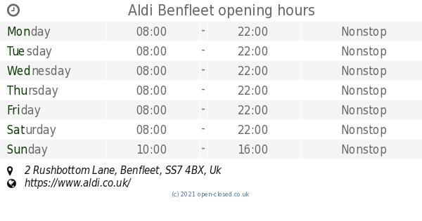 Aldi Benfleet opening times, 2 Rushbottom Lane