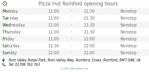 Pizza Hut Romford Opening Times Rom Valley Retail Park Rom
