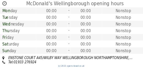 Mcdonalds Wellingborough Opening Times Enstone Court A45