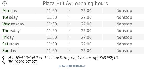 Pizza Hut Ayr Opening Times Heathfield Retail Park