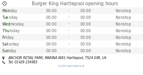 Burger King Hartlepool Opening Times Anchor Retail Park