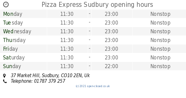 Pizza Express Sudbury Opening Times 37 Market Hill