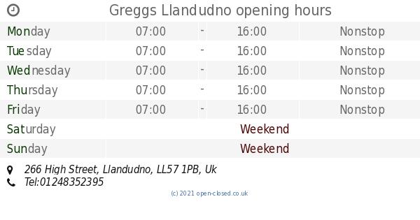 Greggs Llandudno Opening Times 266 High Street