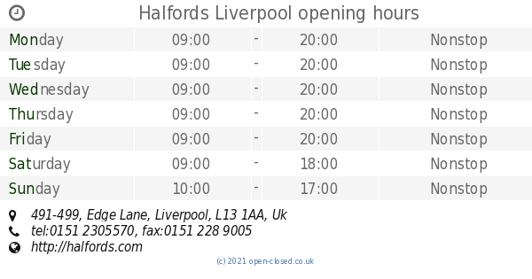 Halfords Liverpool opening times, 491-499, Edge Lane on