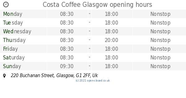Costa Coffee Glasgow Opening Times 220 Buchanan Street