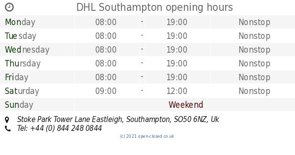 DHL Southampton opening times, Stoke Park Tower Lane Eastleigh