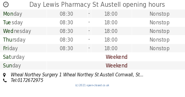 Garden Centre: Day Lewis Pharmacy St Austell Opening Times, Wheal Northey