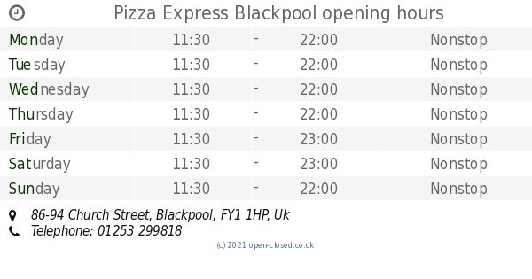 Pizza Express Blackpool Opening Times 86 94 Church Street