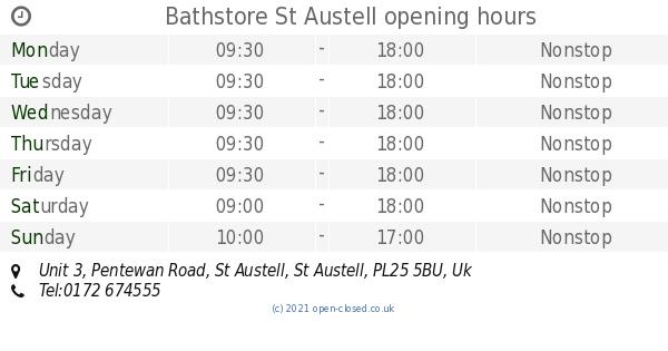 Garden Centre: Bathstore St Austell Opening Times, Unit 3, Pentewan Road