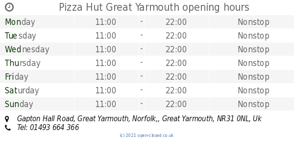 Pizza Hut Great Yarmouth Opening Times Gapton Hall Road