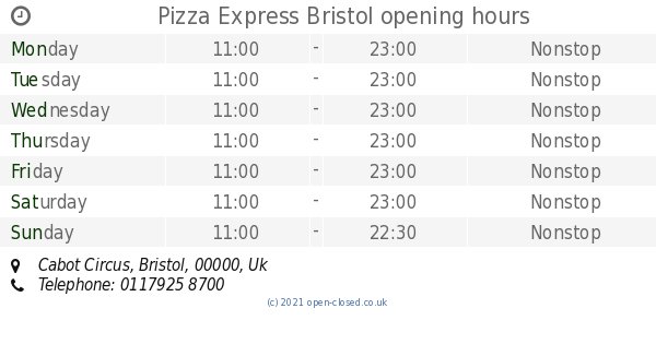 Pizza Express Bristol Opening Times Cabot Circus