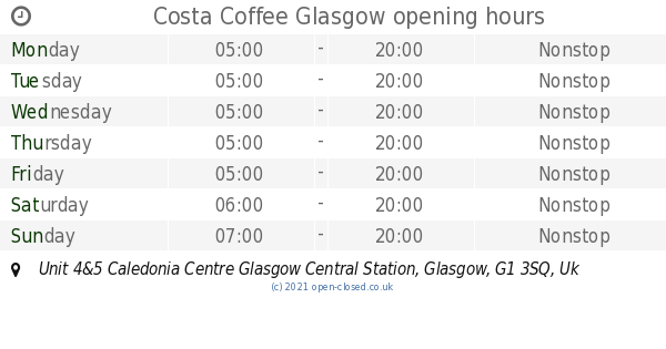 Costa Coffee Glasgow Opening Times Unit 45 Caledonia