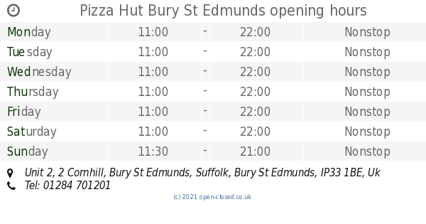 Pizza Hut Bury St Edmunds Opening Times Unit 2 2 Cornhill