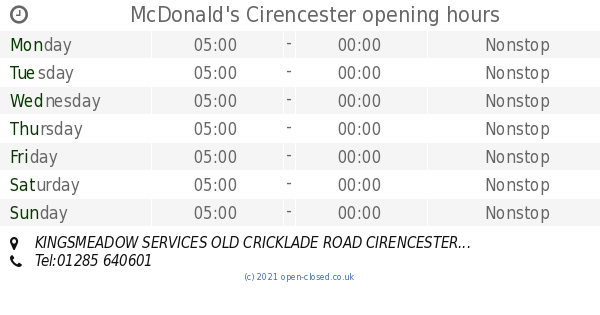 Mcdonalds Cirencester Opening Times Kingsmeadow Services