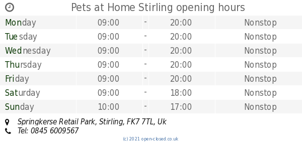 Pets At Home Stirling Opening Times Springkerse Retail Park