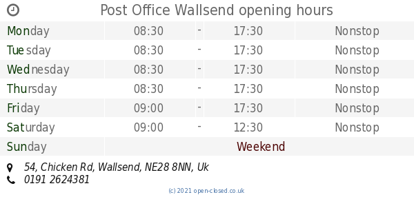 Post Office Wallsend opening times, 54, Chicken Rd