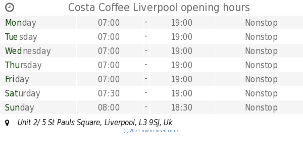Costa Coffee Liverpool Opening Times Unit 2 5 St Pauls Square
