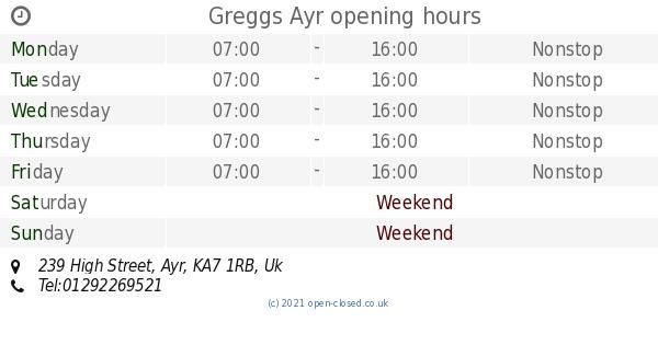 Greggs Ayr Opening Times 239 High Street