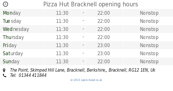 Pizza Hut Bracknell Opening Times The Point Skimped Hill