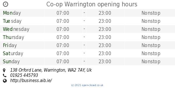 Co Op Warrington Opening Times 138 Orford Lane