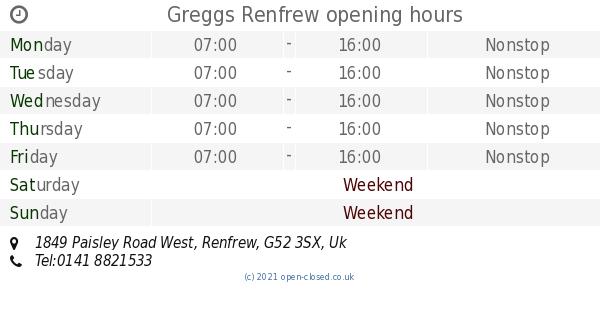 Greggs Renfrew Opening Times 1849 Paisley Road West